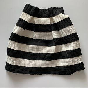 Boutique Black and White Striped Mini Skirt
